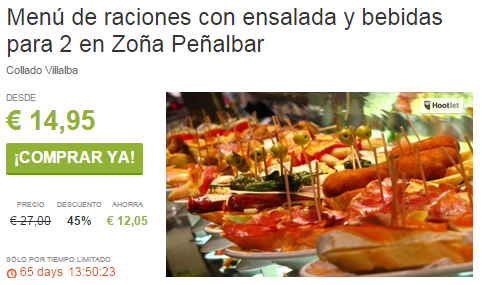 Menú de raciones con ensalada y bebidas para 2 en Zoña Peñalbar ViveLaSierra