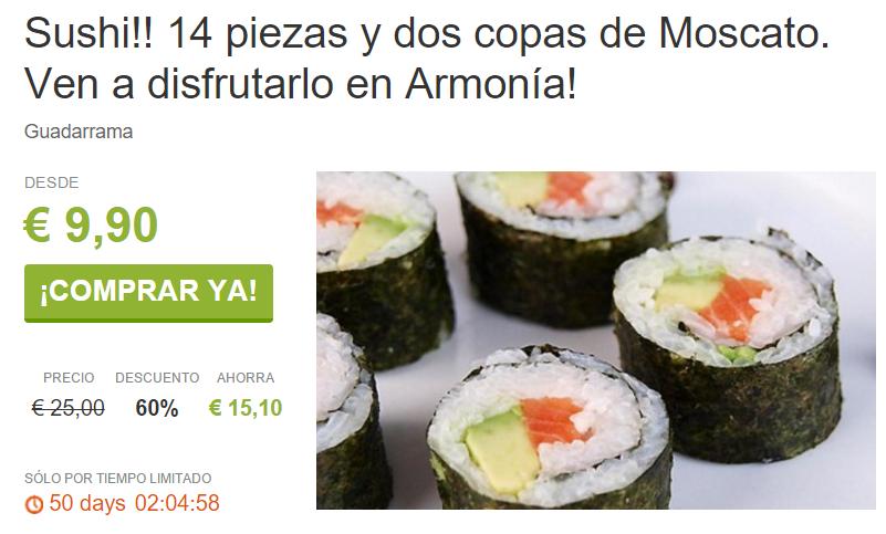 Sushi en la Sierra 14 piezas por 9 90€. En Guadarrama ViveLaSierra