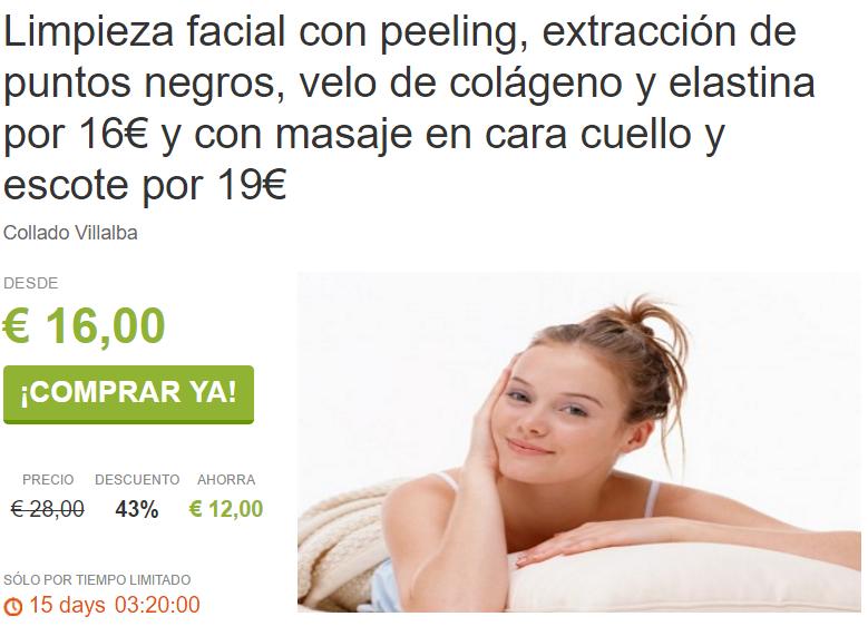 Limpieza facial y masaje desde 16€ en Villalba ViveLaSierra