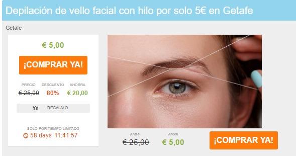 Depilación de vello facial con hilo por solo 5€ en Getafe Liteame