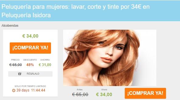 Peluquería para mujeres lavar corte y tinte por 34€ en Peluquería Isidora Liteame