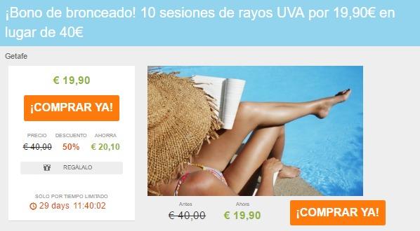 ¡Bono de bronceado! 10 sesiones de rayos UVA por 19,90€ en lugar de 40€