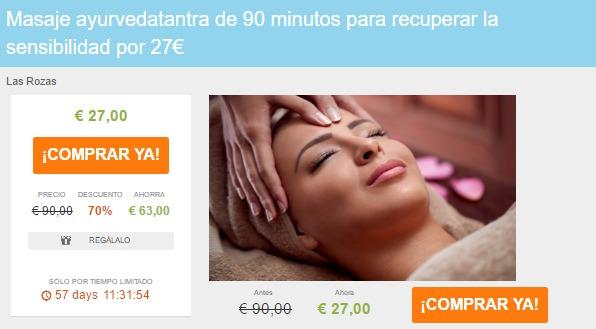 Masaje ayurvedatantra de 90 minutos para recuperar la sensibilidad por 27€